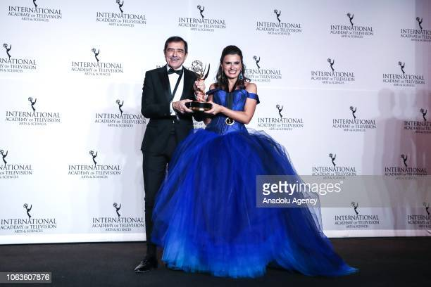 Jose Eduardo Moniz and Maria Joao Costa give a pose with their award during the 46th International Emmy Awards at New York Hilton on November 19 2018...
