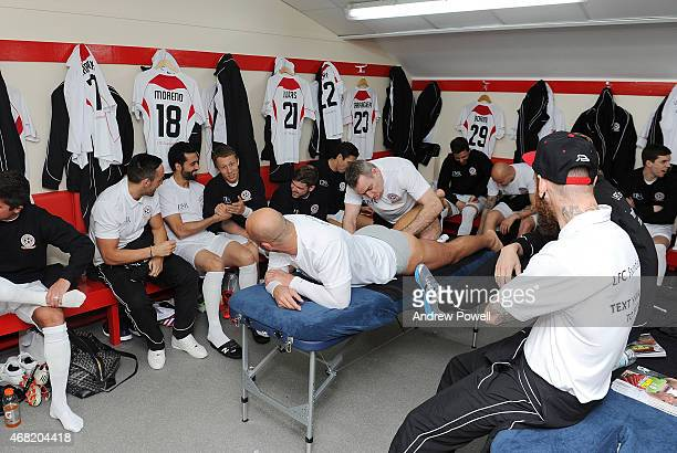 Jose Enrique Alvaro Arbeloa Lucas Alberto Moreno and Pepe Reina in the dressing room before the Liverpool All Star Charity Match at Anfield on March...