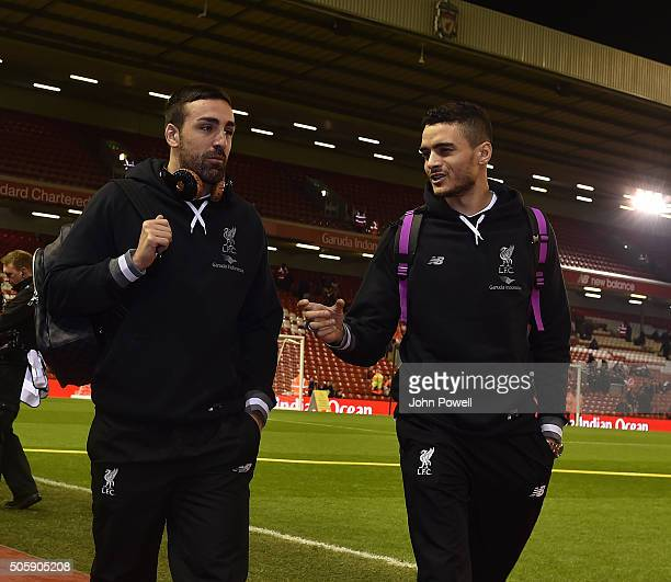 Jose Enrique of Liverpool and Tiago Ilori of Liverpool arrive before The Emirates FA Cup Third Round Replay between Liverpool and Exeter City at...