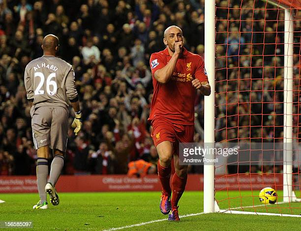 Jose Enrique of Liverpool celebrates his goal during the Barclays Premier League match between Liverpool and Wigan Athletic at Anfield on November...