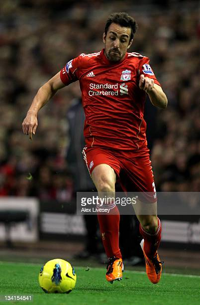 Jose Enrique of Liverpool in action during the Barclays Premier League match between Liverpool and Manchester City at Anfield on November 27, 2011 in...