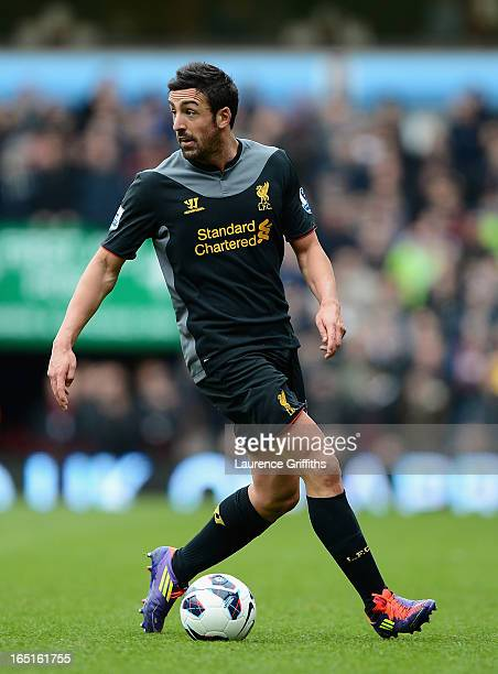 Jose Enrique of Liverpool in action during the Barclays Premier League match between Aston Villa and Liverpool at Villa Park on March 31 2013 in...