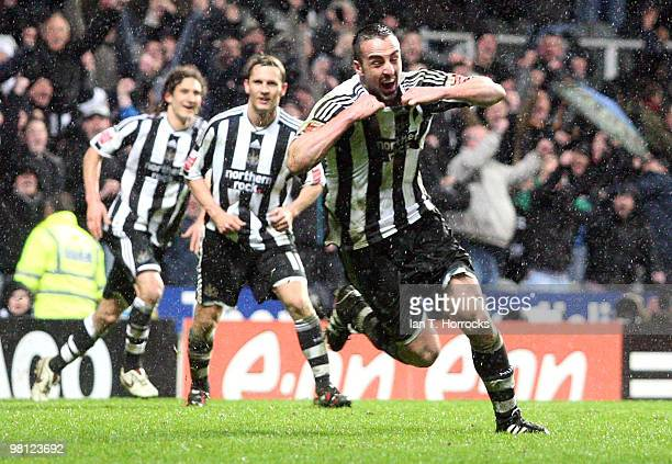 Jose Enrique of Newcastle United celebrates after scoring the second goal during the Coca Cola Championship match between Newcastle United and...