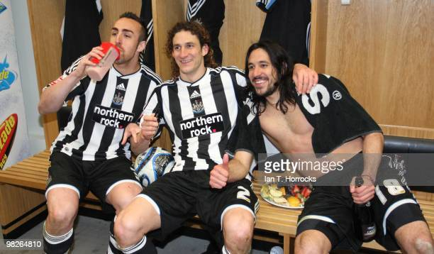 Jose Enriquie Fabricio Colocini and Jonas Gutierrez celebrate after the Coca Cola Championship match between Newcastle United and Sheffield United at...