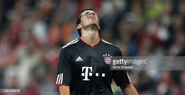 Jose Ernesto Sosa of Bayern reacts during the Franz Beckenbauer Farewell match between FC Bayern Muenchen and Real Madrid at Allianz Arena on August...