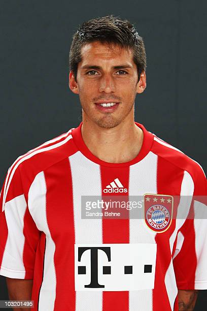 Jose Ernesto Sosa poses during the FC Bayern Muenchen team presentation at Bayern's training ground Saebener Strasse on August 2 2010 in Munich...