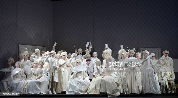 Jose Fardilha as Don Pasquale with artists of the company in Gaetano Donizetti's Don Pasquale directed by Mariame Clement and conducted by Duncan...