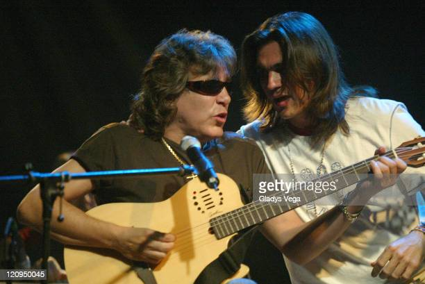 Jose Feliciano and Juanes during Juanes Acustico Concert Sponsored By Pepsi August 3 2005 at Pier 10 in San Juan Puerto Rico