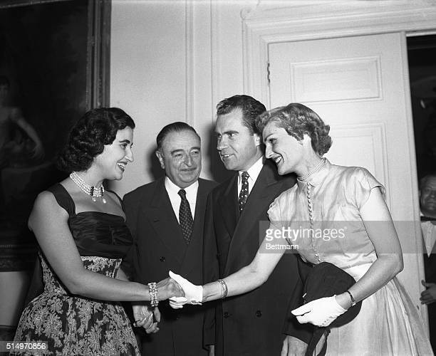 Jose Felix Lequerica the US looks on as Carmen Franco the Marquesa de Villaverde greets US Vice President and Mrs Richard Nixon at a reception in the...