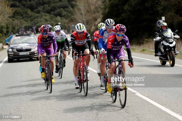 Jose Fernandes of Portugal and Team Burgos - BH / Benjamin King of The United States and Team Dimension Data / Toms Skujins of Latvia and Team Trek -...