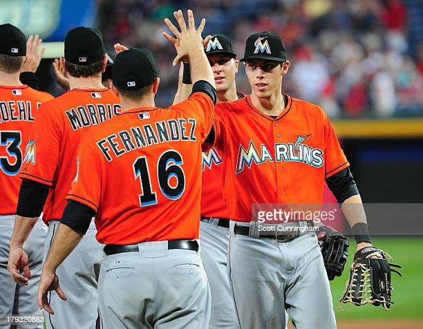 Jose Fernandez and Christian Yelich of the Miami Marlins celebrate after the game against the Atlanta Braves at Turner Field on September 1 2013 in...