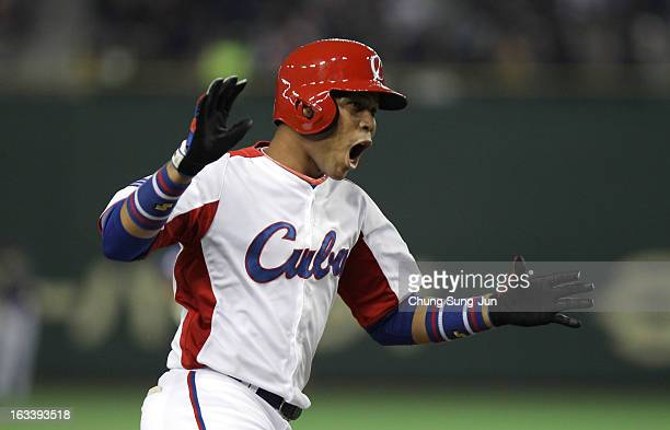 Jose Fernandez of Cuba celebrates after Frederich Cepeda's two run home run bottom in the first inning during the World Baseball Classic Second Round...