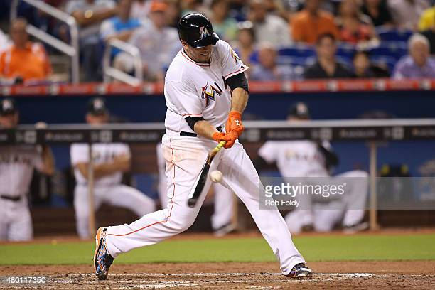 Jose Fernandez of the Miami Marlins breaks his bat during the fourth inning of the game against the Cincinnati Reds at Marlins Park on July 9 2015 in...