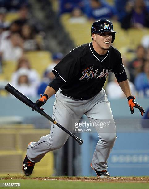 Jose Fernandez of the Miami Marlins bunts into a double play during the third inning against the Los Angeles Dodgers at Dodger Stadium on May 10 2013...
