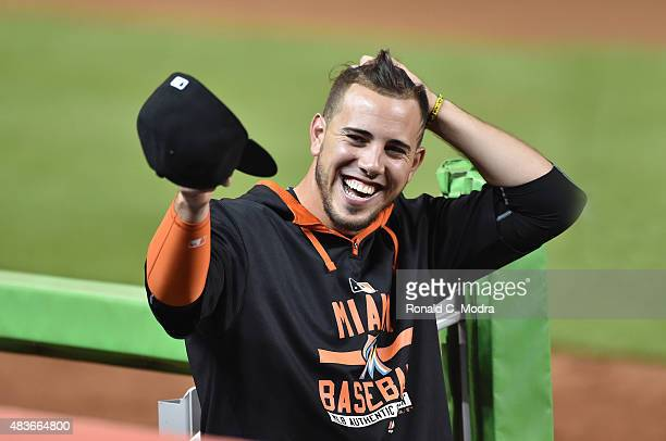 Jose Fernandez of the Miami Marlins laughs during a MLB game against the New York Mets at Marlins Park on August 3 2015 in Miami Florida