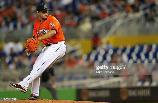 Jose Fernandez of the Miami Marlins pitches during a game against the Atlanta Braves at Marlins Park on September 11 2013 in Miami Florida