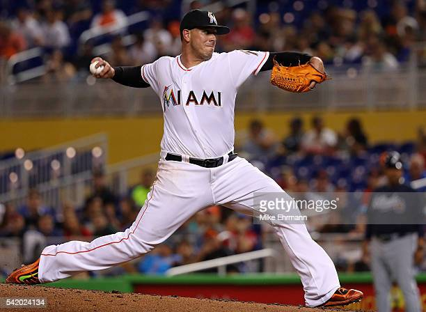 Jose Fernandez of the Miami Marlins pitches during a game against the Atlanta Braves at Marlins Park on June 21 2016 in Miami Florida