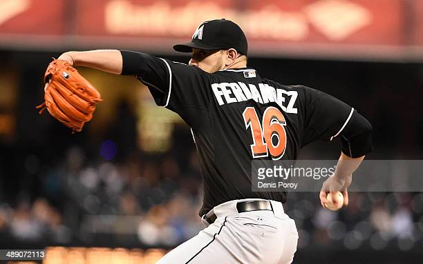 Jose Fernandez of the Miami Marlins pitches during the first inning of a baseball game against the San Diego Padres at Petco Park May 9 2014 in San...