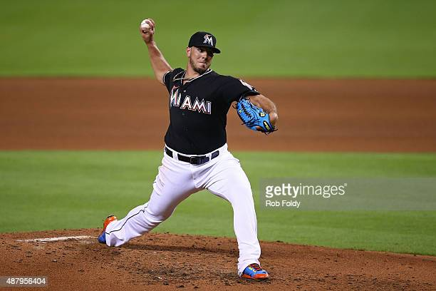 Jose Fernandez of the Miami Marlins pitches during the fourth inning of the game against the Washington Nationals at Marlins Park on September 12...