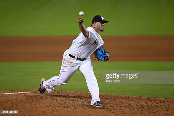 Jose Fernandez of the Miami Marlins pitches during the game against the Atlanta Braves at Marlins Park on September 25 2015 in Miami Florida...