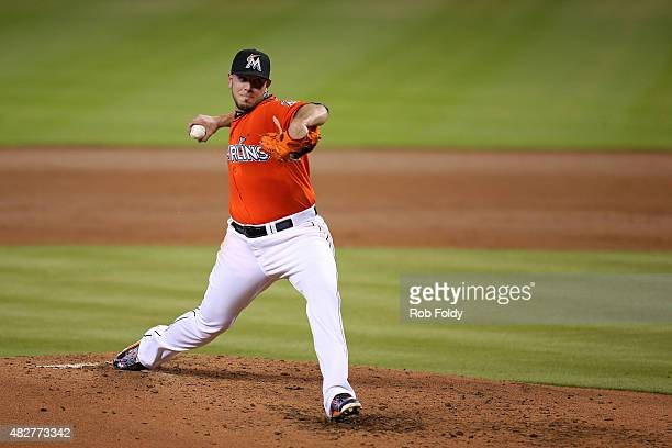 Jose Fernandez of the Miami Marlins pitches during the third inning of the game against the San Diego Padres at Marlins Park on August 2 2015 in...