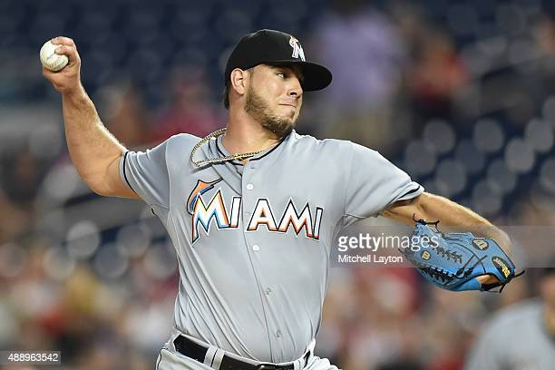Jose Fernandez of the Miami Marlins pitches in the first inning during a baseball game against the Washington Nationals at Nationals Park on...