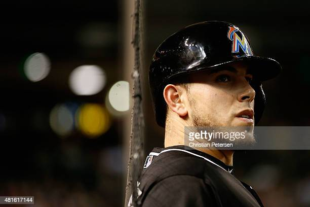 Jose Fernandez of the Miami Marlins stands on deck during the second inning of the MLB game against the Arizona Diamondbacks at Chase Field on July...