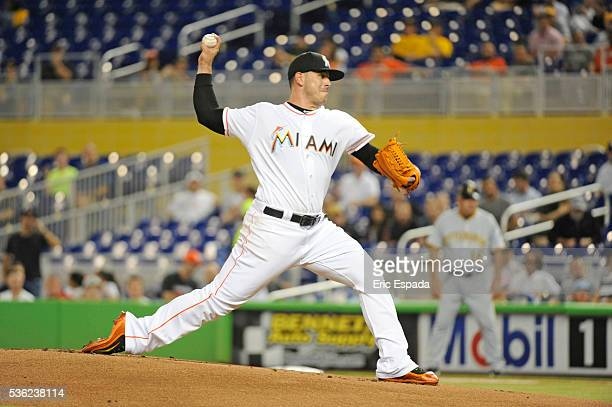 Jose Fernandez of the Miami Marlins throws a pitch during the first inning between the Miami Marlins and the Pittsburgh Pirates at Marlins Park on...