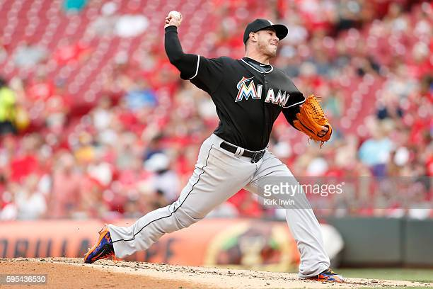 Jose Fernandez of the Miami Marlins throws a pitch during the game against the Cincinnati Reds at Great American Ball Park on August 18 2016 in...