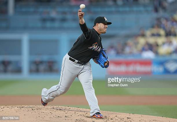 Jose Fernandez of the Miami Marlins throws a pitch in the first inning against the Los Angeles Dodgers at Dodger Stadium on April 28 2016 in Los...