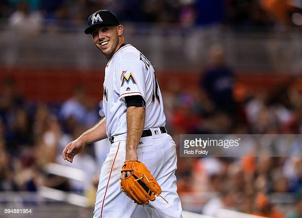 Jose Fernandez of the Miami Marlins walks of the field during the third inning of the game against the Kansas City Royals at Marlins Park on August...