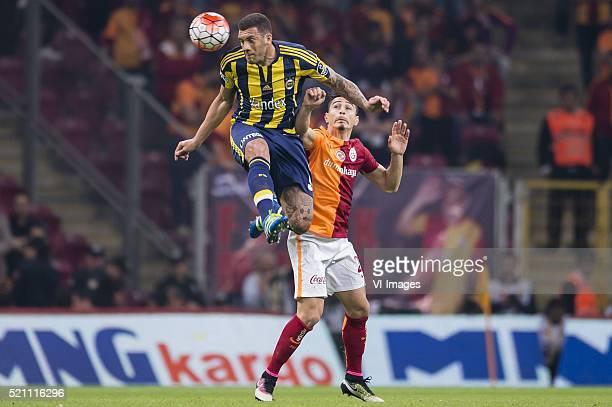 Jose Fernando Viana de Santana of Fenerbahce Koray Gunter of Galatasaray during the Super Lig match between Galatasaray and Fenerbahce on April 13...