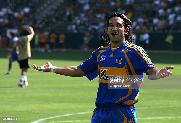Jose Fonseca of Tigres UANL reacts during the World Series of Football match against the Suwon Samsung Bluewings at the Home Depot Center on July 21,...