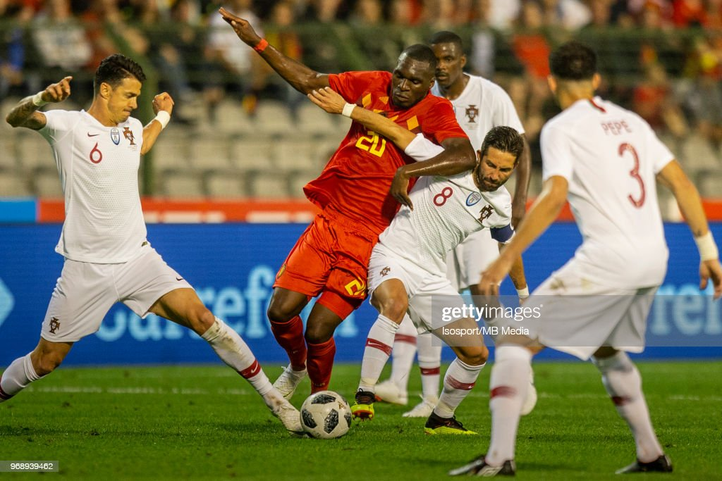 Jose FONTE Christian BENTEKE Joao MOUTINHO during a friendly game between Belgium and Portugal , as part of preparations for the 2018 FIFA World Cup in Russia, on June 2, 2018 in Brussels, Belgium. Photo by Frank Abbeloos - Isosport