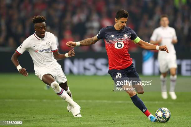 Jose Fonte of Lille and Tammy Abraham of Chelsea during the UEFA Champions League group H match between Lille OSC and Chelsea FC at Stade Pierre...