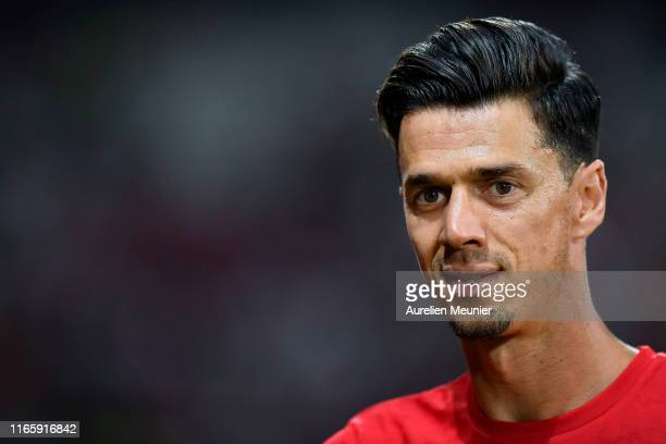 Jose Fonte of Lille looks on during warmup before the Friendly match between Lille and AS Roma at Stade Pierre Mauroy on August 03 2019 in Lille...