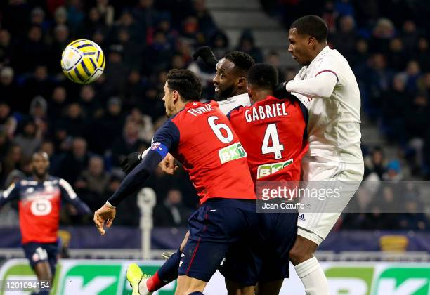 Jose Fonte of Lille Moussa Dembele of Lyon Gabriel dos Santos Magalhaes of Lille Marcelo Guedes of Lyon during the French League Cup semifinal match...
