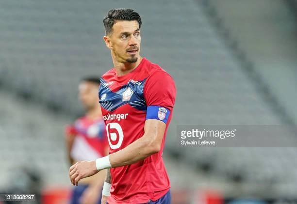 Jose Fonte of Lille OSC during the Ligue 1 match between Lille OSC and AS Saint-Etienne at Stade Pierre Mauroy on May 16, 2021 in Lille, France.