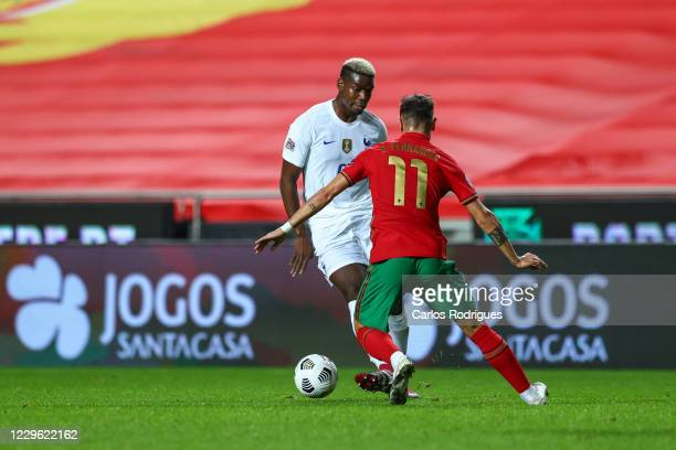 Jose Fonte of Portugal and Lille tries to escape Bruno Fernandes of Portugal and Manchester United during the UEFA Nations League group stage match...