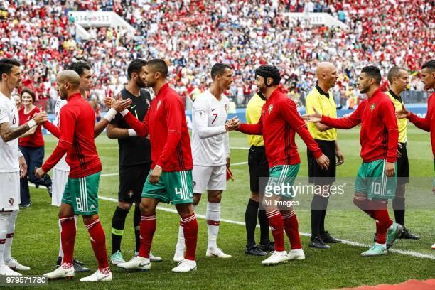Jose Fonte of Portugal Karim El Ahmadi of Morocco Manuel Da Costa of Morocco goalkeeper Rui Patricio of Portugal Nordin Amrabat of Morocco Younes...