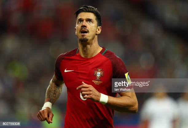 Jose Fonte of Portugal looks on during the FIFA Confederations Cup Russia 2017 SemiFinal between Portugal and Chile at Kazan Arena on June 28 2017 in...