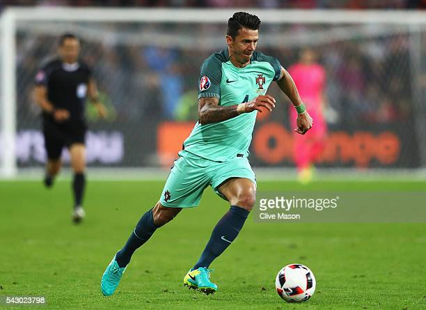 Jose Fonte of Portugal looks on during the UEFA EURO 2016 round of 16 match between Croatia and Portugal at Stade BollaertDelelis on June 25 2016 in...