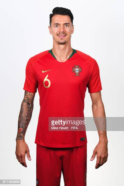 Jose Fonte of Portugal poses for a portrait during the official FIFA World Cup 2018 portrait session at the Saturn training base on June 10 2018 in...