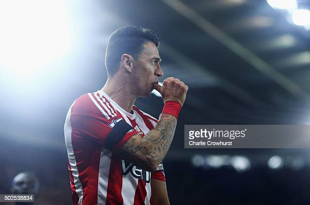 Jose Fonte of Southampton celebrates as he scores their third goal during the Barclays Premier League match between Southampton and Arsenal at St...