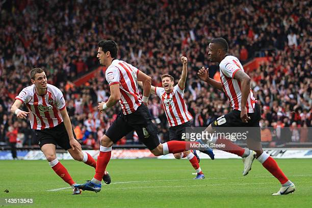 Jose Fonte of Southampton celebrates scoring his sides second goal during the npower Championship match between Southampton and Coventry City at St...