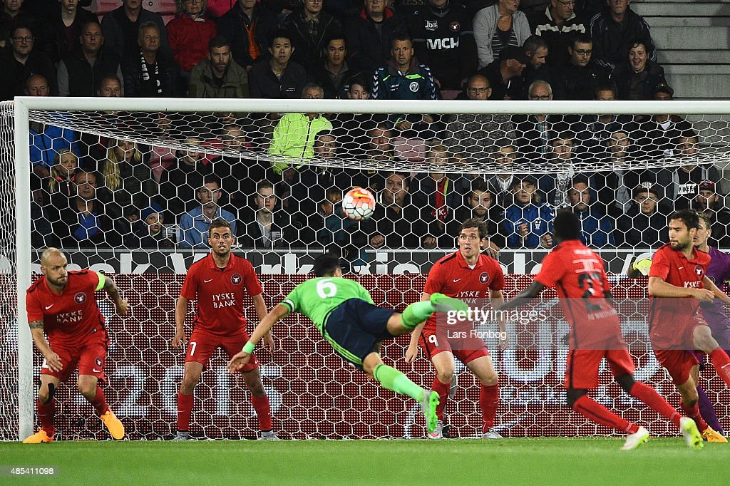Jose Fonte of Southampton has an attempt on goal during the UEFA Europa League match between FC Midtjylland and Southampton FC at MCH Arena on August 27, 2015 in Herning, Denmark.