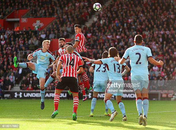 Jose Fonte of Southampton rises highest to head at goal during the Premier League match between Southampton and Burnley at St Mary's Stadium on...