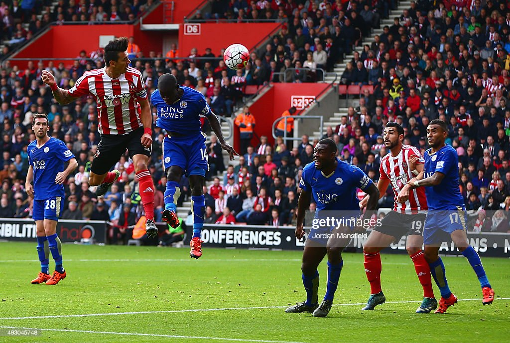 Jose Fonte (2nd L) of Southampton scores his team's first goal during the Barclays Premier League match between Southampton and Leicester City at St Mary's Stadium on October 17, 2015 in Southampton, England.