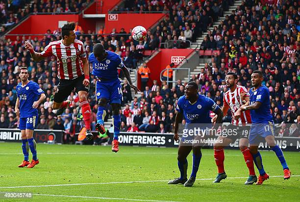 Jose Fonte of Southampton scores his team's first goal during the Barclays Premier League match between Southampton and Leicester City at St Mary's...