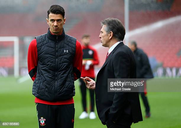 Jose Fonte of Southampton speaks to Claude Puel Manager of Southampton on the pitch prior to the Premier League match between AFC Bournemouth and...